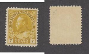 MNH Canada 7c KGV Admiral Yellow Ochre Stamp #113 (Lot #20068)