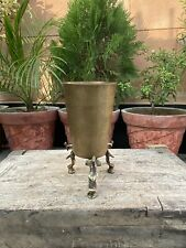 Antique Old Brass Lussi Glass Cup Made Flower Vase Cup With Peacock Figure Stand