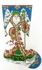 "Needlepoint Handpainted Canvas LEE Christmas Stocking ELEGANT SANTA 23"""