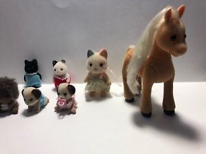 Calico Critters Sylvanian Families Lot Horse cat kittens puppies hedgehogs used