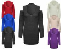 Ladies Womens Knitted Long Sleeve V Neck Jumper Top Bodycon Party Dress Sweater