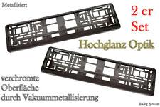 2 Hochglanz Chrom Kennzeichenhalter Nummernschildhalter Anthrazit Metallisiert
