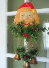 Fantastic Celluloid Santa Head w holly chains & metal Christmas bells Door Decor
