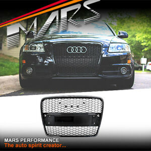 Gloss Black RS6 Style Bumper Bar Grille Grill for AUDI A6 4F C6 2004-11 Bodykit
