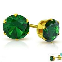 Simulated Emerald Stud Earrings Yellow Gold PVD Hypoallergenic Surgical Steel