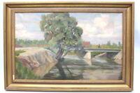 Gemälde Fluss mit Brücke von Hans Härdtlein