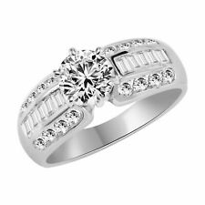 Silver Solitaire Engagement Ring 3.50Ct Round Cut Cz Sterling