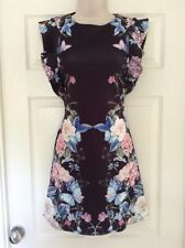Lipsy Black Floral Print Dress, Ruffle Sleeve Zip Back Summer / Occasion RRP £50
