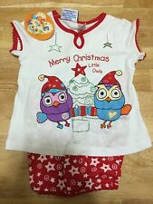 CHILDRENS LICENSED GIGGLE AND HOOT KNIT CHRISTMAS PYJAMAS SET SIZE4 BNWT