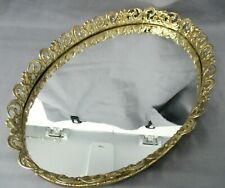 New listing Vintage Mirror Oval Dresser Vanity Tray or Wall Hanging Ornate Filigree Metal