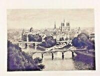 Vintage Rare 1940s Paris Etching Bridges River Seine Pencil Signed Yvon No 15