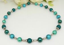 Halskette Perlenkette Glasperlen smaragd türkis petrol Hämatit Silber Straß 244f