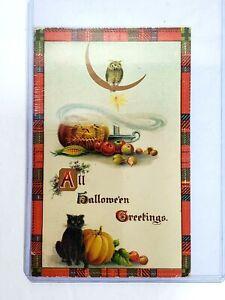 1900's All Halloween Greetings Vintage Postcard, Black Cat,Owl Series 2999