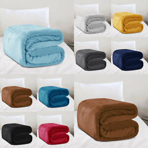 Large Faux Fur Fleece Blanket Soft & Warm Bed Sofa Throw Double & King Size
