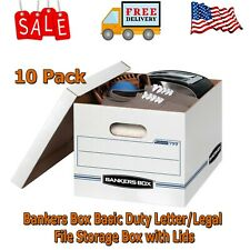 Bankers Box Basic Duty Letterlegal File Storage Box With Lids 10 Pack White