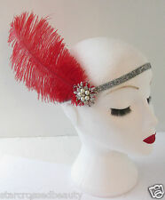Red Silver Ostrich Feather Flapper Headpiece 1920s Vintage Headband Pearl L44