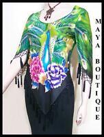 Silk Top Peacock Painted & Beaded Green Multi Maya Matazaro Size M