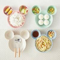 Cute Mouse Lunch Dinner Rice Kid Feeding Bowl Plate Snack Fruits Dish Tableware