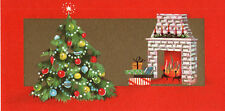 UNUSED  Vintage Christmas Card: FIREPLACE WITH CHRISTMAS TREE
