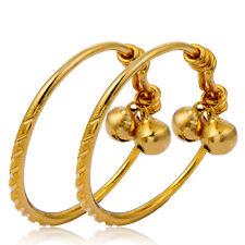 adjustable infant 24k gold filled carved 2 bells charms bangle kids bracelet