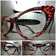 VINTAGE RETRO CAT EYE Style Clear Lens EYE GLASSES Red Orange Crystals Handmade
