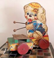 RARE! Vintage BOBIK 1940/50s Wooden Pull-along Dog Xylophone Toy GWO