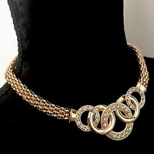 Boho Tribal Statement Bib Gypsy Gold Tone Necklace Choker Chain Link Crystal