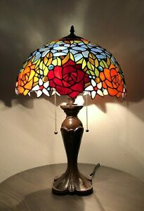 """Enjoy Tiffany Table Lamp Stained Glass Rose Flower Antique Vintage W16""""*H24"""""""