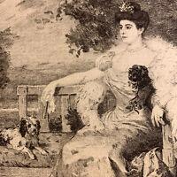 Humbert gravure eau forte etching Portrait De Femme Princesse Avec Ses Chiens