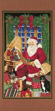 "Christmas Santa List Cotton Fabric Timeless Treasures C7409 19"" Panel Retired"