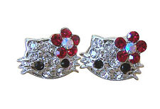 """X-small 1/4"""" Hello Kitty Red Crystal Stud Earrings"""