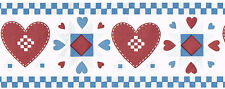 Country Quilt Patchwork Stich Red Hearts Blue White Check Wall paper Border