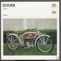 1914 Excelsior V-Twin 750cc (746cc) American Bike Motorcycle Photo Spec Card