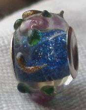 Blue Glitter Pink Flowers Rose Glass Bead for Silver European Charm Bracelets