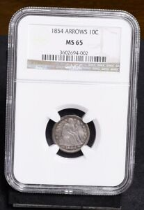 1854 Liberty Seated Dime - With Arrows - NGC MS65 (#36134)