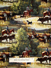 Cowboy Fabric - Rancher Horse Steer Scenic Springs CP55729 Sagebrush - 1.4 Yards