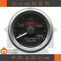 """SAAS 52mm 2"""" Water Temp Gauge 40-120 Degree Range Black Dial Face + Fitting Kit"""
