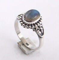 3.30 Gm Natural Labradorite Ring 925 Solid Sterling Silver Ring Size 7 M-243
