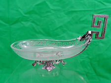 MAGNIFICENT QUALITY ANTIQUE FRENCH STERLING SILVER / FROSTED GLASS CANDY DISH