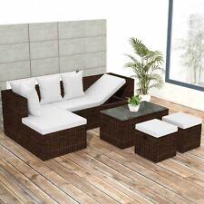 vidaXL Patio Outdoor Wicker Seats Rattan Corner Sofa Garden Furniture Set Brown