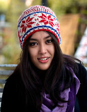 Nepalese Pure Woolen Red White and Blue Mix Snow Flake Pattern Sherpa Winter Hat