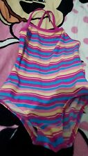 Lovely Girls TU stripey Swimming costume Age 7 Years