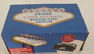 2-Deck Automatic Card Shuffler Wooden Poker Cards Board Games Shuffling Machine
