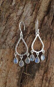 Chandelier Earrings in Sterling Silver and Moonstone boho bohemia