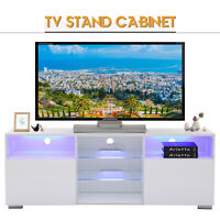 High Gloss White LED TV Stand Unit with 2 Shelves & Doors Cabinet Furniture
