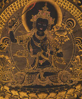 "50"" BLESSED EMBROIDERED BROCADE WOOD SCROLL TIBETAN THANGKA: BLACK MANJUSHRI ="