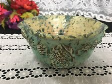 "Green Mottled ""Pine Cone"" Double Spout Art Pottery Bowl Signed Dennis Smith 8"""