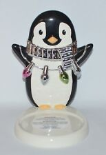 BATH & BODY WORKS CERAMIC PARTY PENGUIN LIGHTS LARGE 3 WICK CANDLE HOLDER SLEEVE
