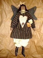ARTIST TAGS FOLK ART ANGEL HEART STAR LACE CLOTH WOOD PAINT DOLL CRAFT HANDMADE!