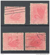 WESTERN AUSTRALIA, 1905 1d four different copies (wmk Crown over A), cat £13 (D)